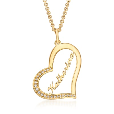 .20 ct. t.w. CZ Personalized Heart Pendant Necklace in 18kt Yellow Gold Over Sterling