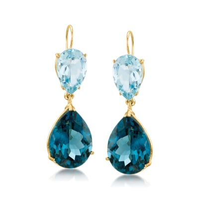 25.00 ct. t.w. Tonal Blue Topaz Drop Earrings in 14kt Yellow Gold