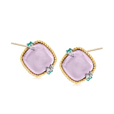 "Andrea Candela ""Dulcitos"" 8.30 ct. t.w. Amethyst and .16 ct. t.w. Emerald Earrings in Sterling Silver and 18kt Yellow Gold"