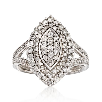 C. 1980 Vintage 1.20 ct. t.w. Diamond Cluster Ring in 14kt White Gold