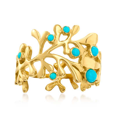 Turquoise Reef Ring in 18kt Gold Over Sterling