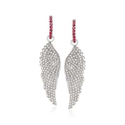 1.30 ct. t.w. Ruby and .10 ct. t.w. Diamond Angel Wing Drop Earrings