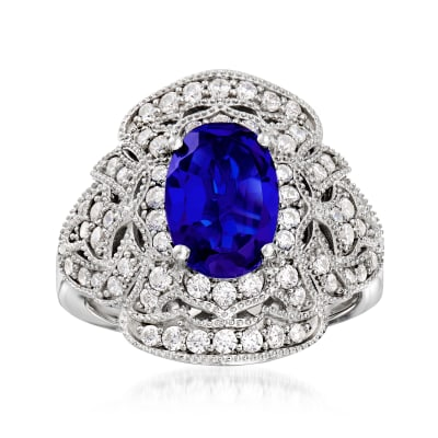 1.87 Carat Simulated Sapphire and .75 ct. t.w. CZ Ring in Sterling Silver