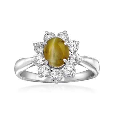 C. 2000 Vintage Cat's Eye Chrysoberyl and .58 ct. t.w. Diamond Ring in Platinum