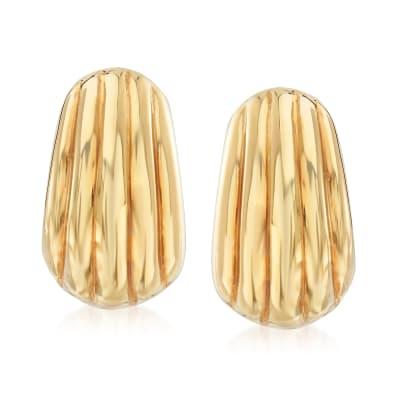 Italian 18kt Yellow Gold Grooved Earrings