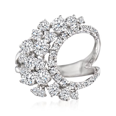 1.90 ct. t.w. Diamond Curved Split-Shank Ring in 14kt White Gold