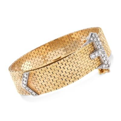 C. 1960 Vintage Women's Diamond Buckle Manual Watch in 14kt Yellow Gold