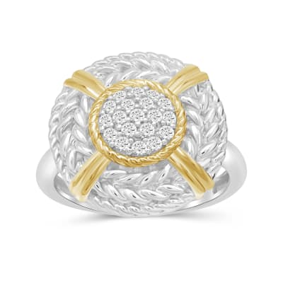 .25 ct. t.w. Diamond Cluster and Roped Frame Ring in Two-Tone Sterling