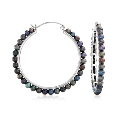 3.5-4mm Black Cultured Pearl Hoop Earrings in Sterling Silver