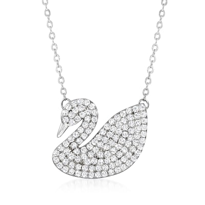 2.90 ct. t.w. CZ Swan Necklace in Sterling Silver
