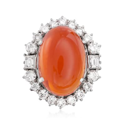 C. 1980 Vintage Fire Opal and 3.29 ct. t.w. Diamond Ring in Platinum