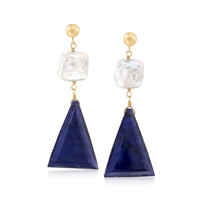 10x10mm Cultured Pearl and 30.00 ct. t.w. Sapphire Drop Earrings in 14kt Yellow Gold