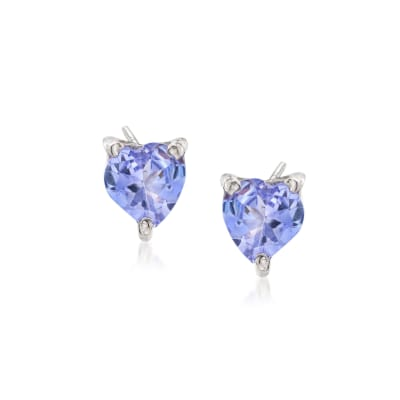 .90 ct. t.w. Tanzanite Heart Stud Earrings in Sterling Silver
