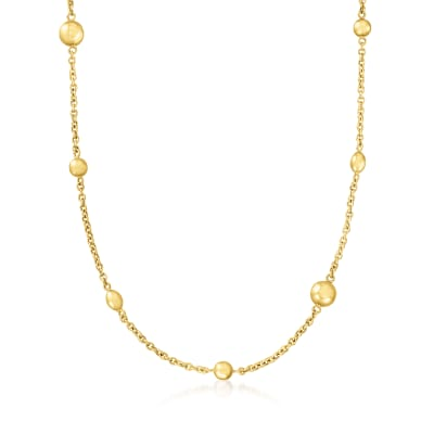 Italian 14kt Yellow Gold Bead Station Necklace