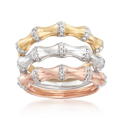 .30 ct. t.w. Diamond Jewelry Set: Three Bamboo Bands in 18kt Tri-Colored Gold Over Sterling