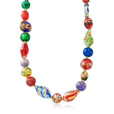 Italian 4-18mm Multicolored Murano Glass Bead Necklace with 18kt Gold Over Sterling