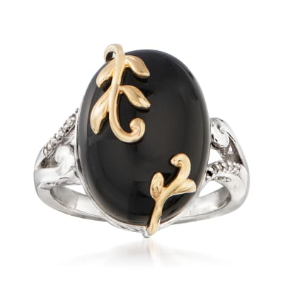 Black Onyx Ring with Diamond Accents in Sterling Silver with 14kt Yellow Gold