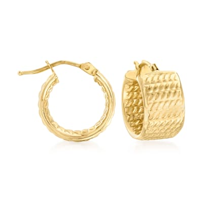 Italian 14kt Yellow Gold Textured Huggie Hoop Earrings