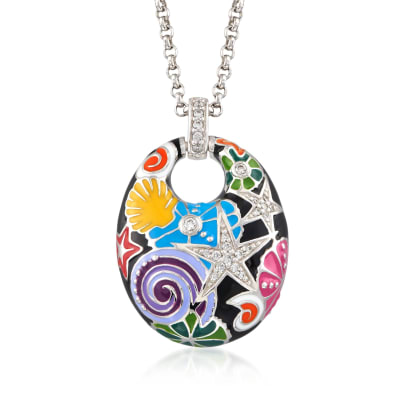 "Belle Etoile ""Starfish"" Black and Multicolored Enamel Pendant with CZs in Sterling Silver"