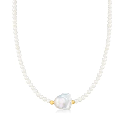 4-14mm Cultured Pearl Necklace with 14kt Yellow Gold