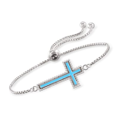 Italian Sterling Silver and Blue Enamel Cross Bolo Bracelet