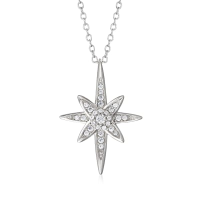 .33 ct. t.w. CZ North Star Pendant Necklace in Sterling Silver