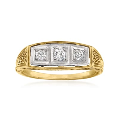 C. 1950 Vintage .25 ct. t.w. Three-Stone Diamond Ring in Platinum and 14kt Yellow Gold