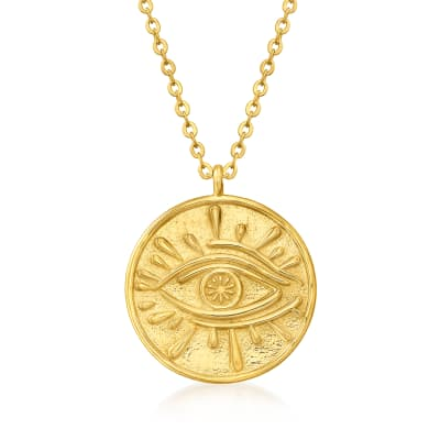 Italian 18kt Gold Over Sterling Evil Eye Circle Pendant Necklace