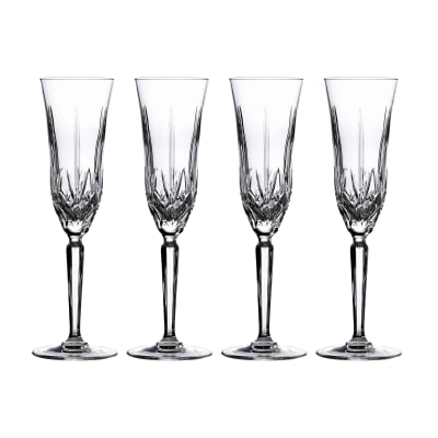 "Marquis by Waterford Crystal ""Maxwell"" Set of 4 Flute Glasses from Italy"