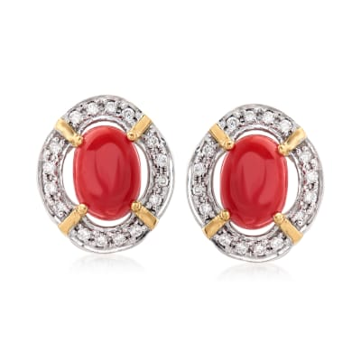 Coral and .14 ct. t.w. Diamonds in 14kt Yellow Gold