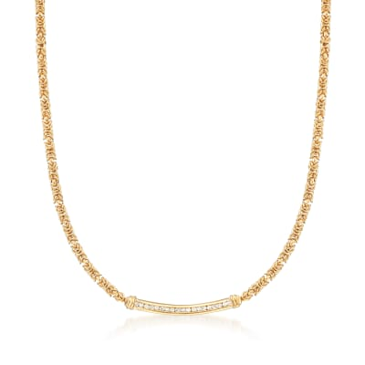 .50 ct. t.w. Diamond Byzantine Bar Necklace in 18kt Gold Over Sterling