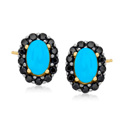 Turquoise and .50. ct. t.w. Black Spinel Earrings in 18kt Gold Over Sterling