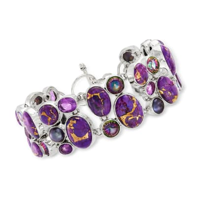 4-8mm Purple Cultured Pearl, Purple Copper Turquoise and Multi-Gemstone Bracelet in Sterling Silver