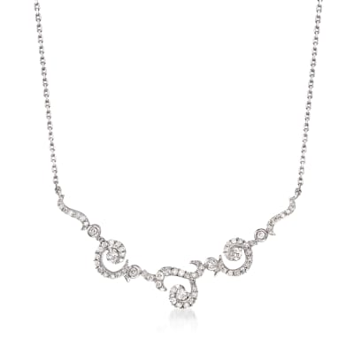 .50 ct. t.w. Diamond Swirl Necklace in Sterling Silver
