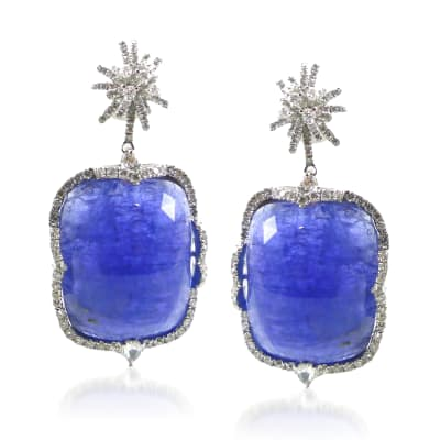 55.00 ct. t.w. Tanzanite and 1.92 ct. t.w. Diamond Drop Earrings in 18kt White Gold