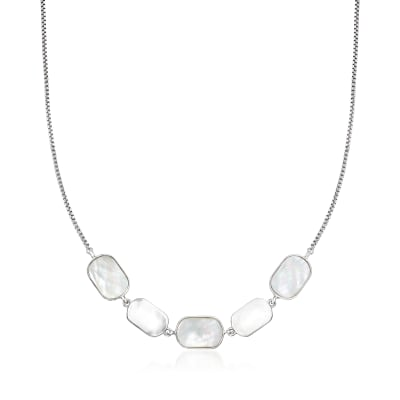 White Mother-Of-Pearl Necklace in Sterling Silver