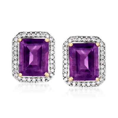 4.00 ct. t.w. Amethyst and .28 ct. t.w. Diamond Earrings in 14kt Yellow Gold
