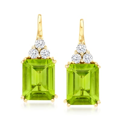 3.00 ct. t.w. Peridot and .38 ct. t.w. Diamond Drop Earrings in 14kt Yellow Gold
