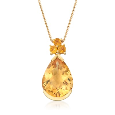 9.20 ct. t.w. Citrine Pendant Necklace in 14kt Yellow Gold