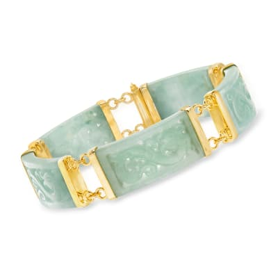 Jade Dragon Bracelet with 18kt Gold Over Sterling