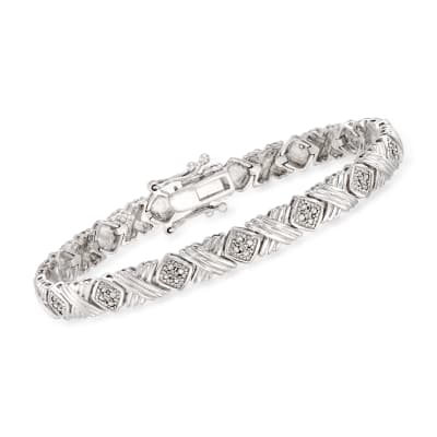 .50 ct. t.w. Diamond X-Link Bracelet in Sterling Silver