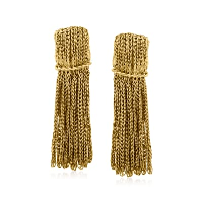 C. 1960 Vintage 18kt Yellow Gold Clip-On Tassel Drop Earrings