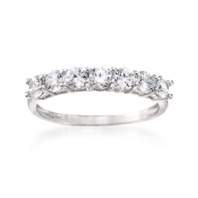 1.00 ct. t.w. CZ Seven-Stone Ring in Sterling Silver