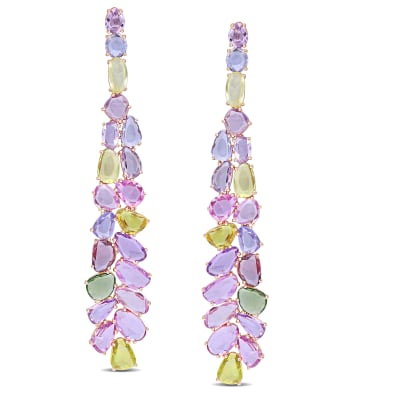 27.90 ct. t.w. Multicolored Sapphire Cluster Drop Earrings in 14kt Rose Gold