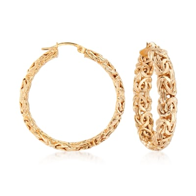 18kt Gold Over Sterling Large Byzantine Hoop Earrings