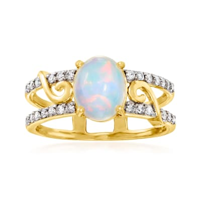 Opal and .24 ct. t.w. Diamond Ring in 14kt Yellow Gold