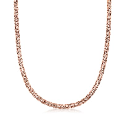 14kt Rose Gold Small Byzantine Necklace