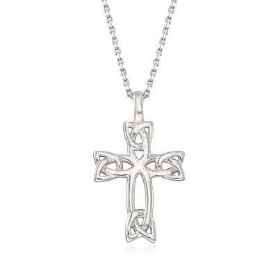 Sterling Silver Celtic Trinity Knot Cross Pendant Necklace
