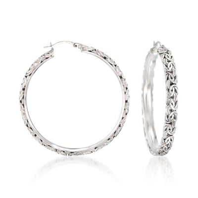 Sterling Silver Extra-Large Byzantine Hoop Earrings