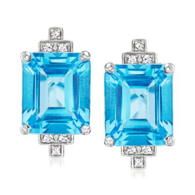 """Andrea Candela """"Gatsby"""" 14.00 ct. t.w. Swiss Blue Topaz Earrings with .10 ct. t.w. Diamonds in Sterling Silver"""